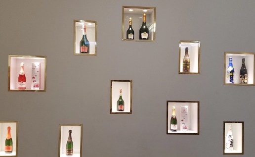 Visitors to Tattinger get an eyeful of champagne as art at the reception area