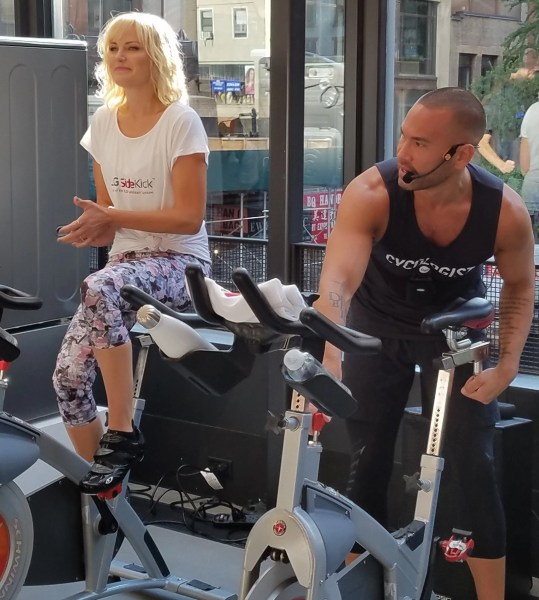 Billions actress Malin Akerman and Cyc Fitness Founder Keoni Hudoba to co-lead a spin class getting ready to lead a special spin class for editors (photo by alison blackman)