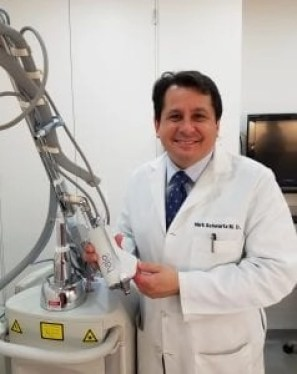 Dr. Mark Schwartz with his Halo laser