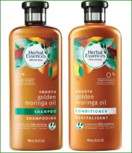 Herbal eseences with golden moringa oil shampoo and conditioner