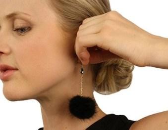 large puffball earrings