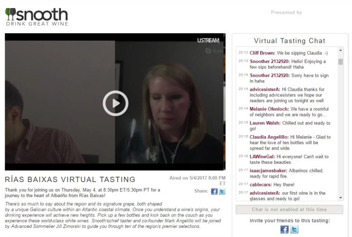 virtual wine tasting chat window on snooth.com