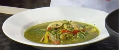green thai curry noodle soup photo