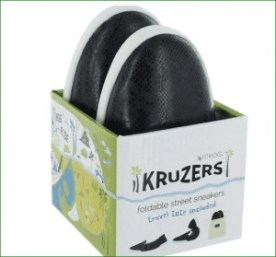 Kruzers fold in half and fit into a drawstring travel bag!