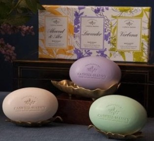 Caswell-Massey soap trio verbena, lavender and almond & Aloe