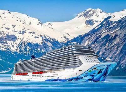 in alaska norwegian bliss cruise ship hull i
