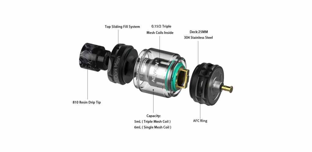 Advken Dark Mesh Tank Components