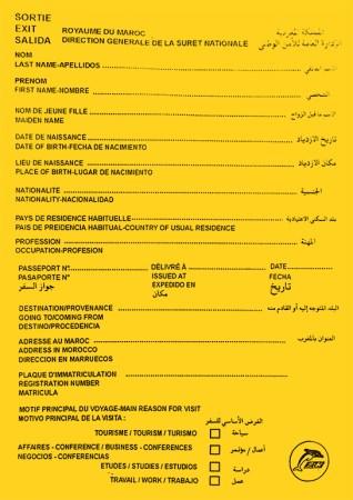 Impreso de salida de Marruecos