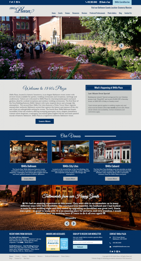 new website launch, 1840s Plaza