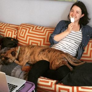 Meet Michelle's rescue dog Taco who is skilled in lounging and opening doors without human help!