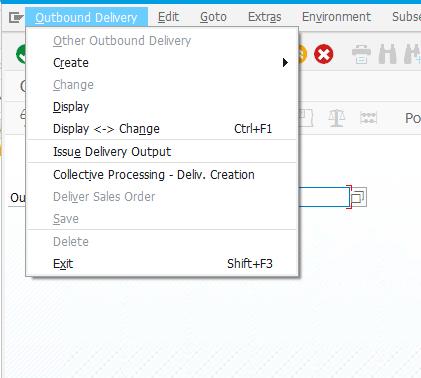 SAP Outbound Delivery menu VL03n