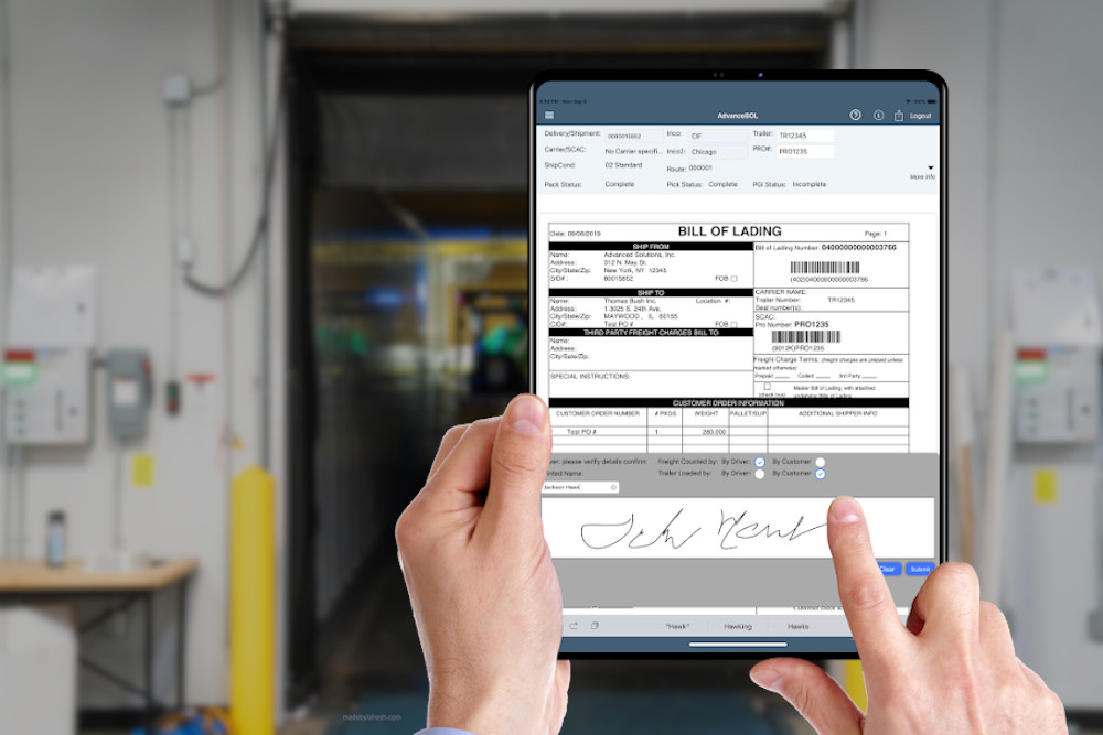 Capture digital signatures at the dock from drivers