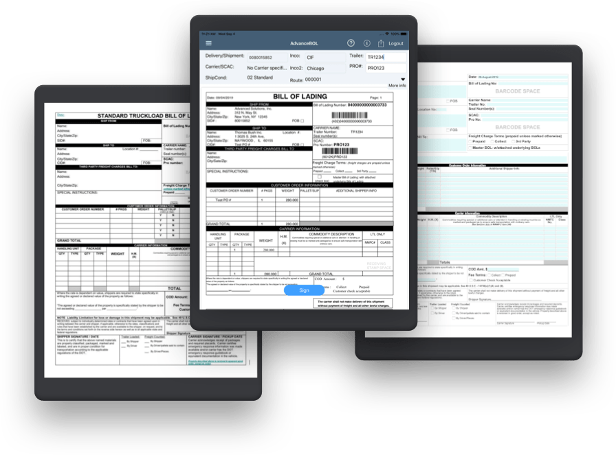 Warehouse workers using mobile app for bill of lading
