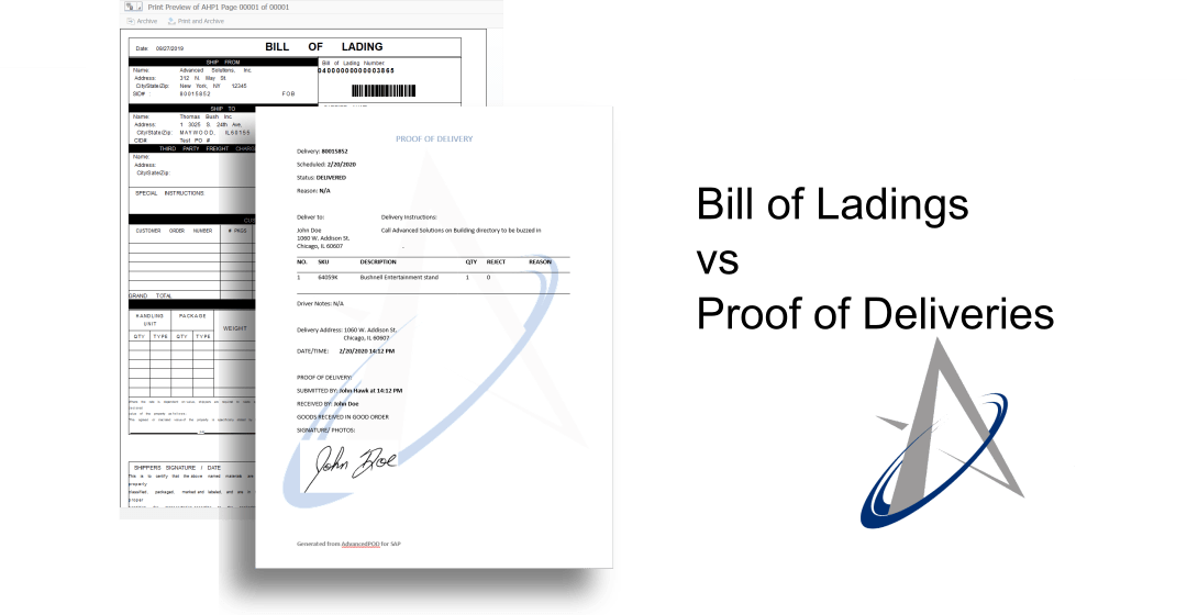 Bill of Ladings vs Proof of Delivery