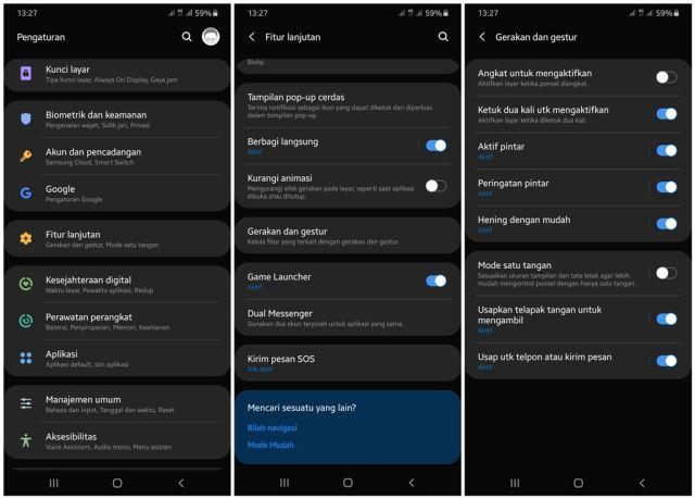 cara mengaktifkan ketuk layar 2x di Samsung Galaxy A Series dan M Series terbaru