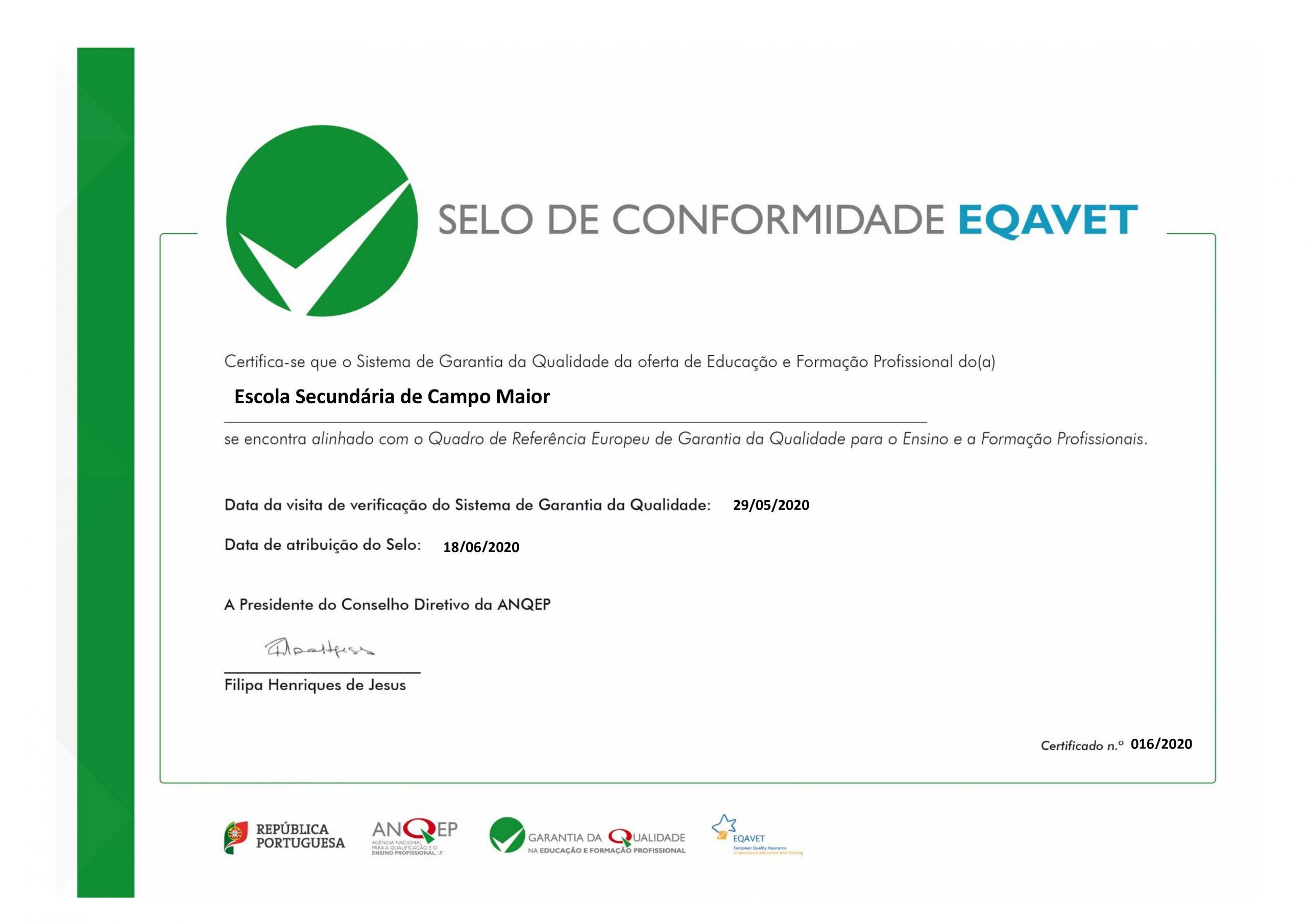 ES de Campo Maior reconhecida com o Selo de Conformidade EQAVET