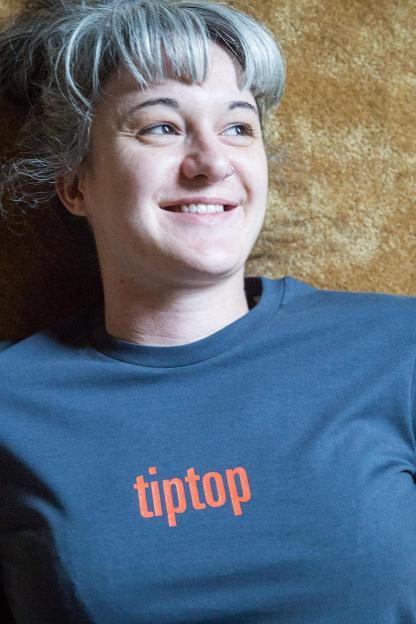 "UNISEX T-SHIRT ""tiptop"": Shirt colour ""Indian ink grey"", Print ""Red"""