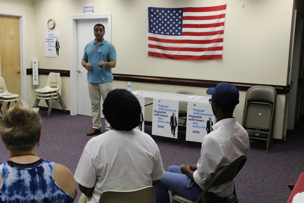"Wilson County Democratic Party volunteers listen to actor Harry Lennix, co-star of NBC's ""The Blacklist,"" before beginning a voter registration drive Saturday. Corey Friedman 