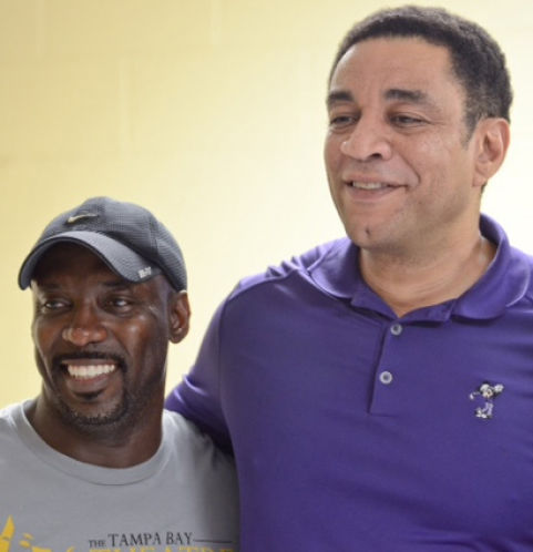 Tampa Bay Theatre Festival founder Rory Lawrence, left, and actor Harry Lennix take a break during an intensive master class Lennix taught at the Tampa Bay Theatre Festival in 2015. Courtesy of FlashEFX Photography