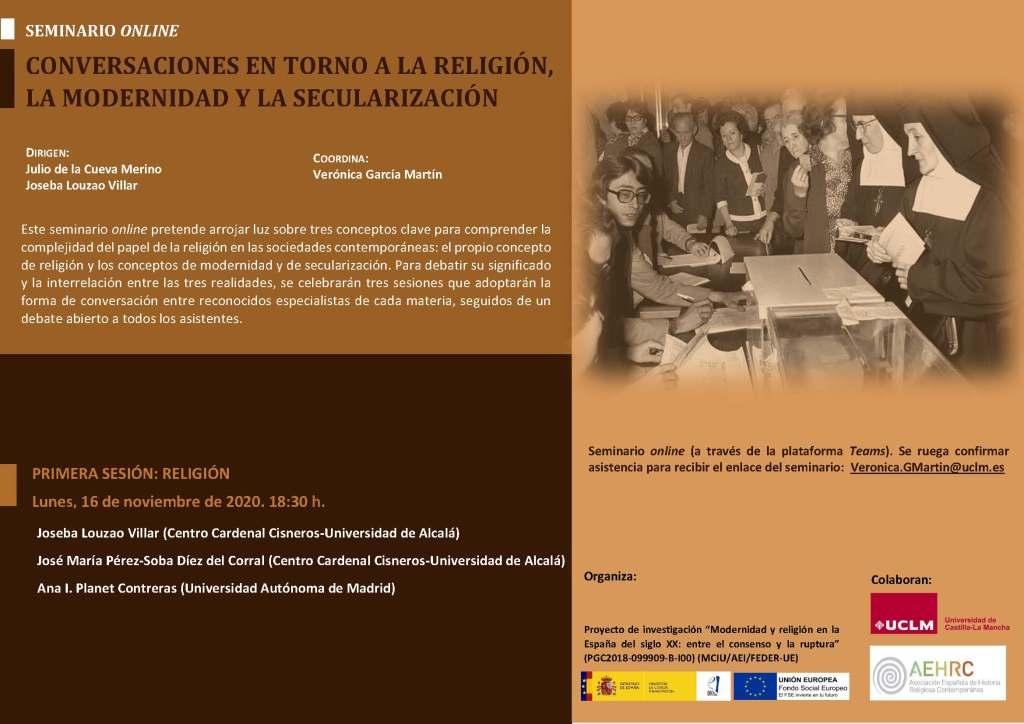CONVERSACIONES EN TORNO A LA RELIGIÓN, LA MODERNIDAD Y LA SECULARIZACIÓN (Seminario online)