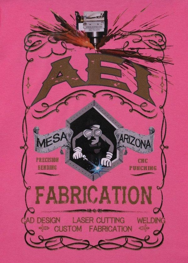 AEI Fabrication Shiner Womens T-Shirt Pink Rear View