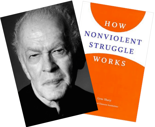 How Nonviolent Struggle Works, and a signed photo of Gene Sharp