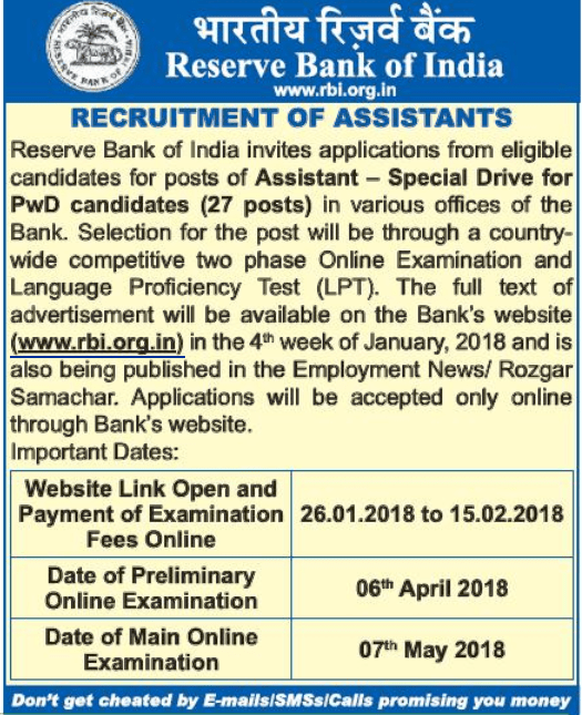 assistant reserve bank of india Reserve Bank of India Recruitment 2018 : Various posts across India