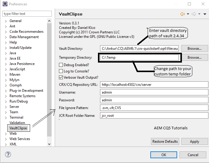 how to change eclipse directory