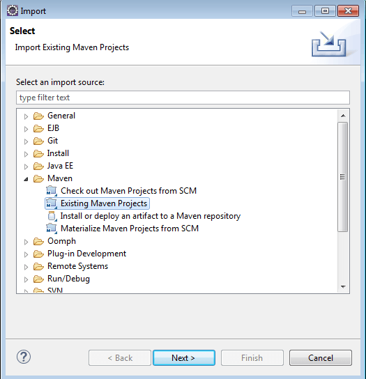 import existing maven project into workspace