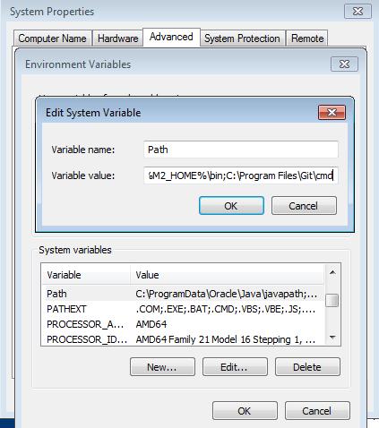 set git enviroment path variable in windows
