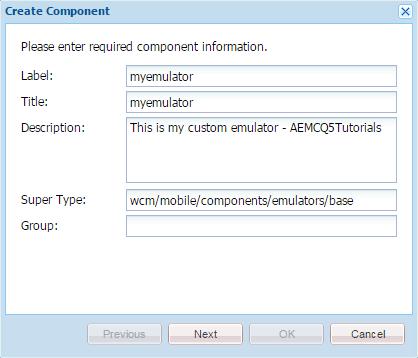 custom mobile emulator component aem6