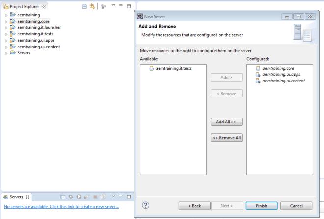 add or remove aem server modules in eclipse