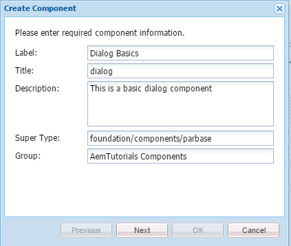 create component aem dialog