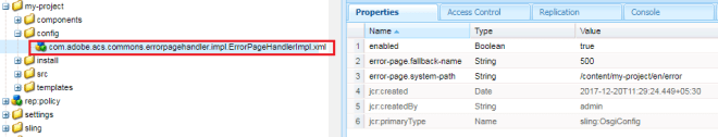 error page configuration