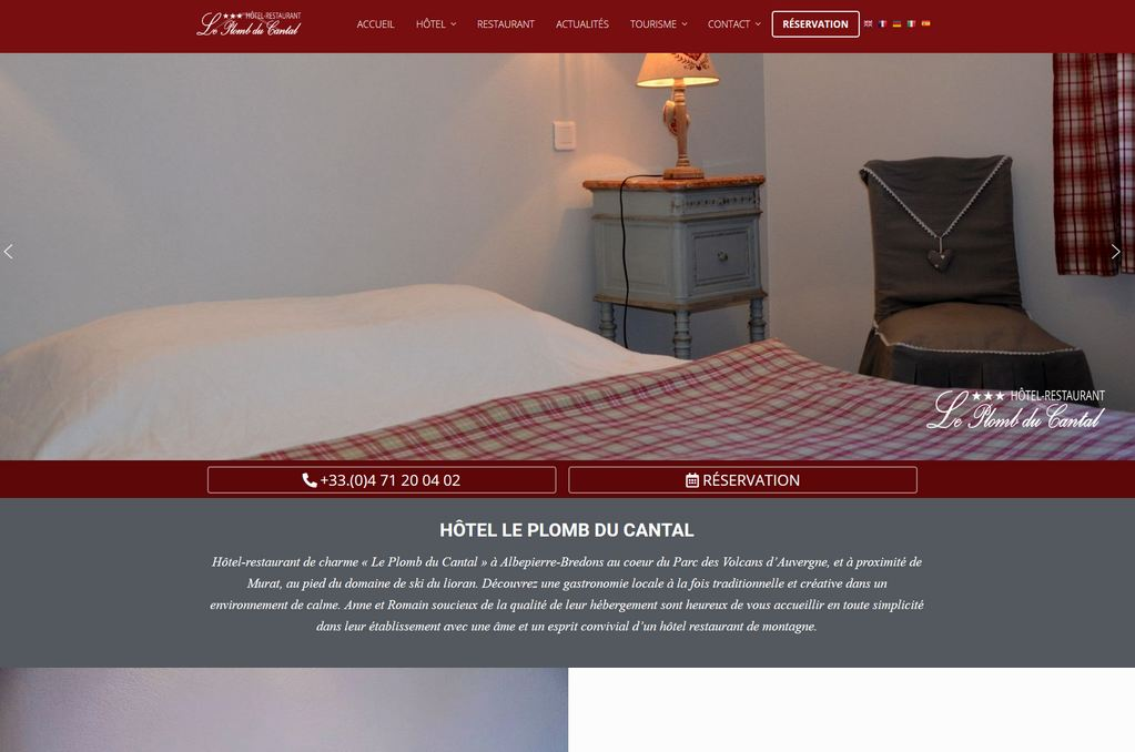 Site internet Hôtel-restaurant Murat