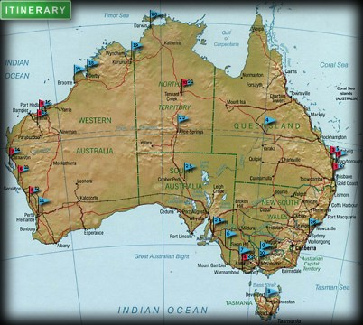 Aequator Albino Itinerary Map of Australia