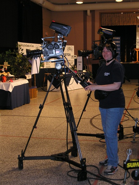 Cathi at her camera during the telethon