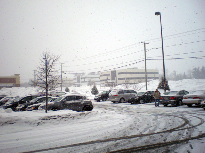 Parking lot, Cars covered in snow.
