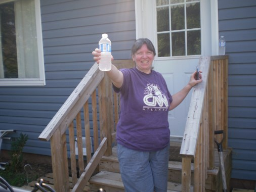 Cathi offering me a water bottle.