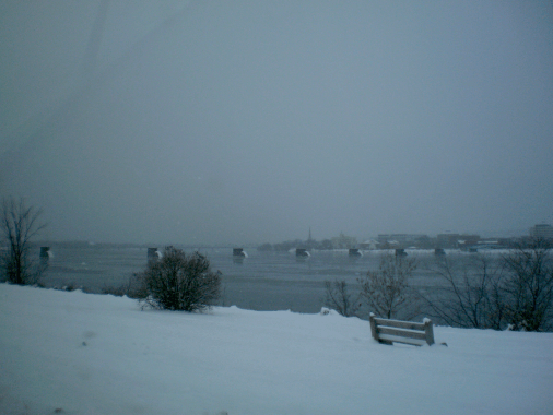 St John River in a snow storm, Tuesday, December 29th, 2015.