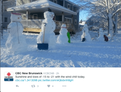 Snow people with shovels and other wintery objectsl.