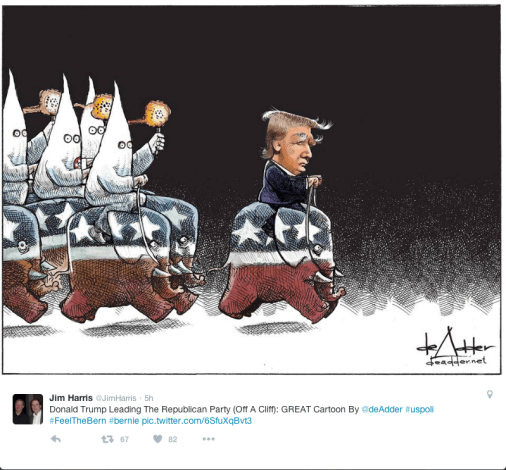 Trump leading a charge of Elephants being ridden by guys in KKK disguises.