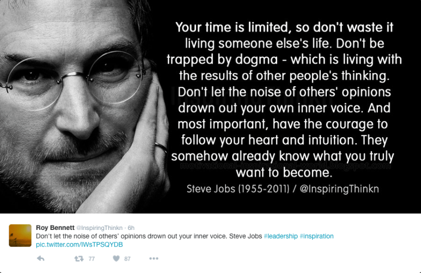 Steve Jobs quoted.