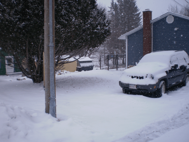 Snow falling, beginning to cover spots that were bare a couple hours earlier.