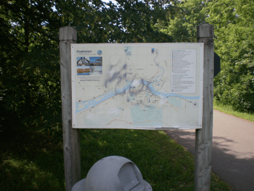 Walking Trail Map of an area of Fredericton.