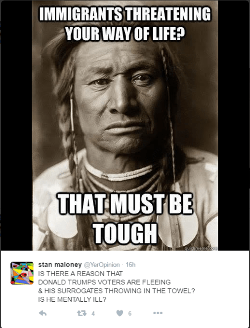 Native American / First Nations person's photo portrait and an anti-Trump message.