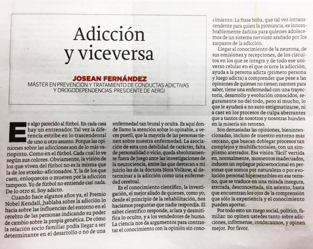 AERGI opinion 'Adiccion y viceversa' articulo de Josean Fernandez