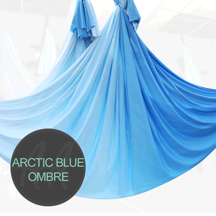 ARCTIC BLUE WHITE Ombre aerial yoga hammocks for sale