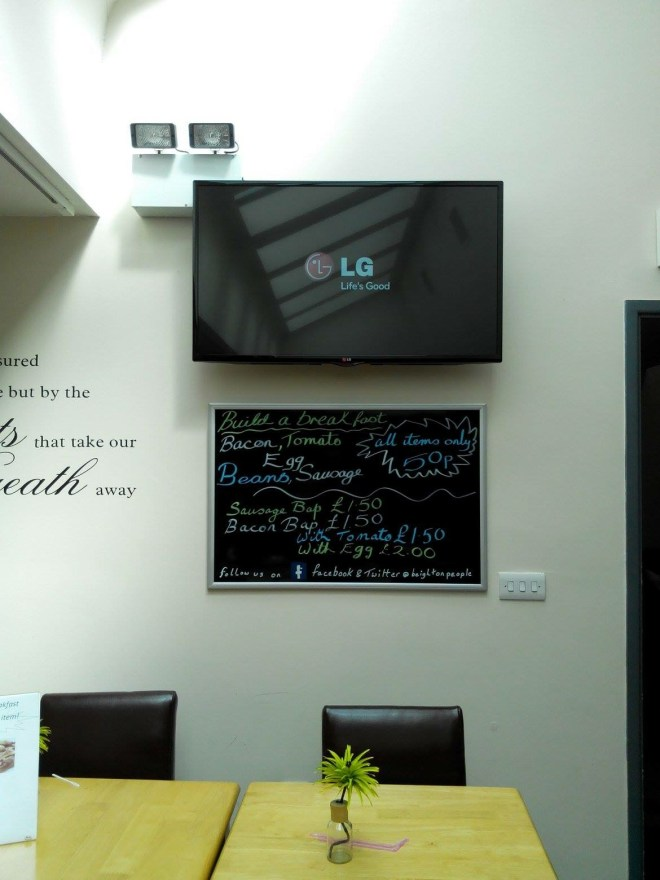 Wall mounted in TV coffee shop