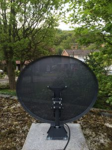 Satellite dish on patio mount